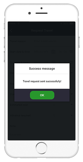 sap hr suite hcm hrm app travel request sent popup