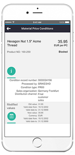sap material price conditions app