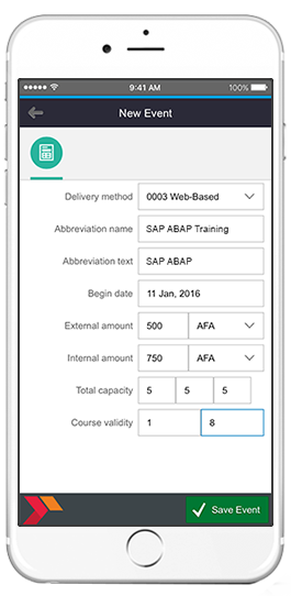 sap new training event app