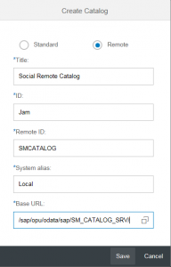 SAP JAM Remote Catalogue