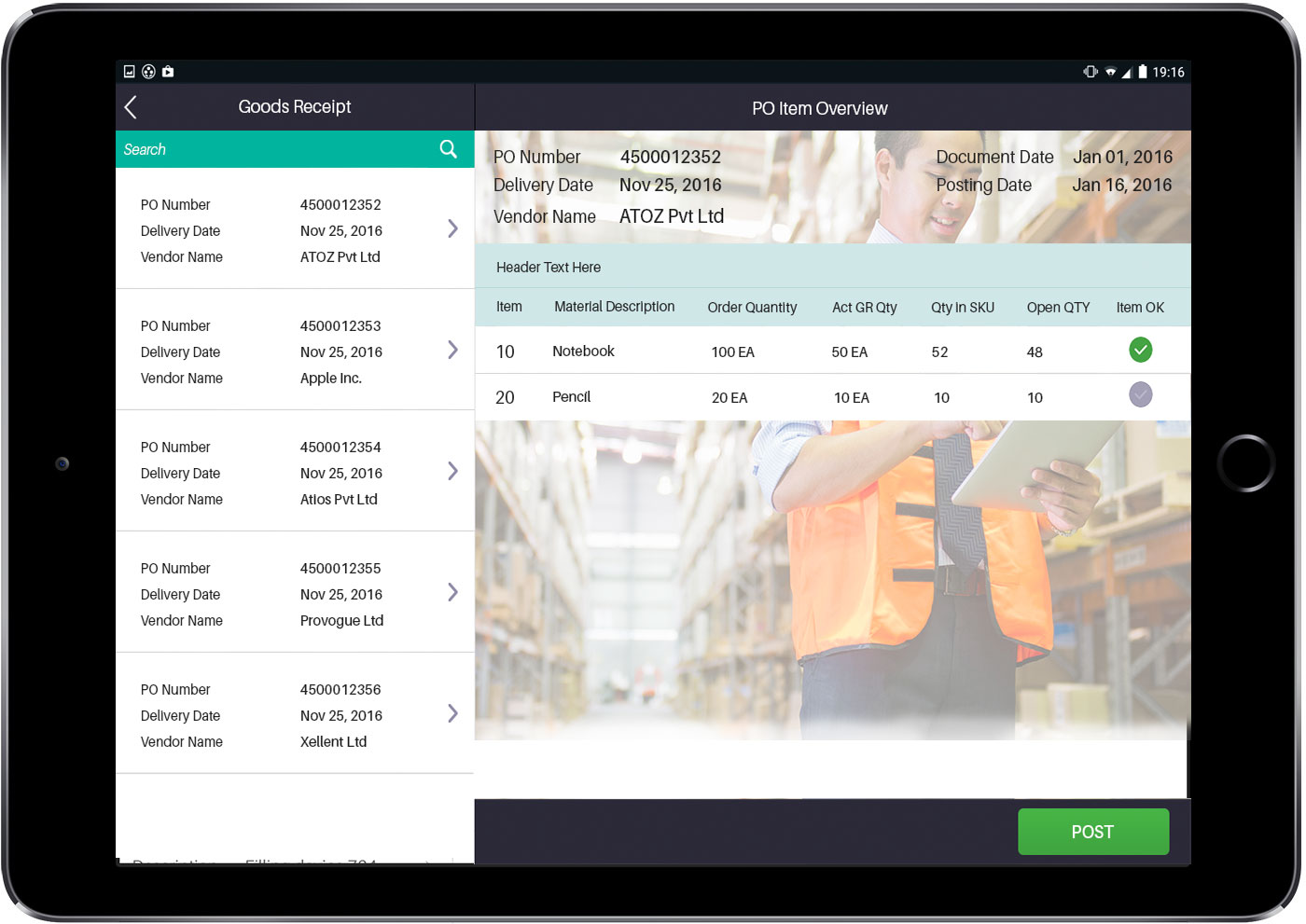 SAP Inventory Management App - Goods Receipt