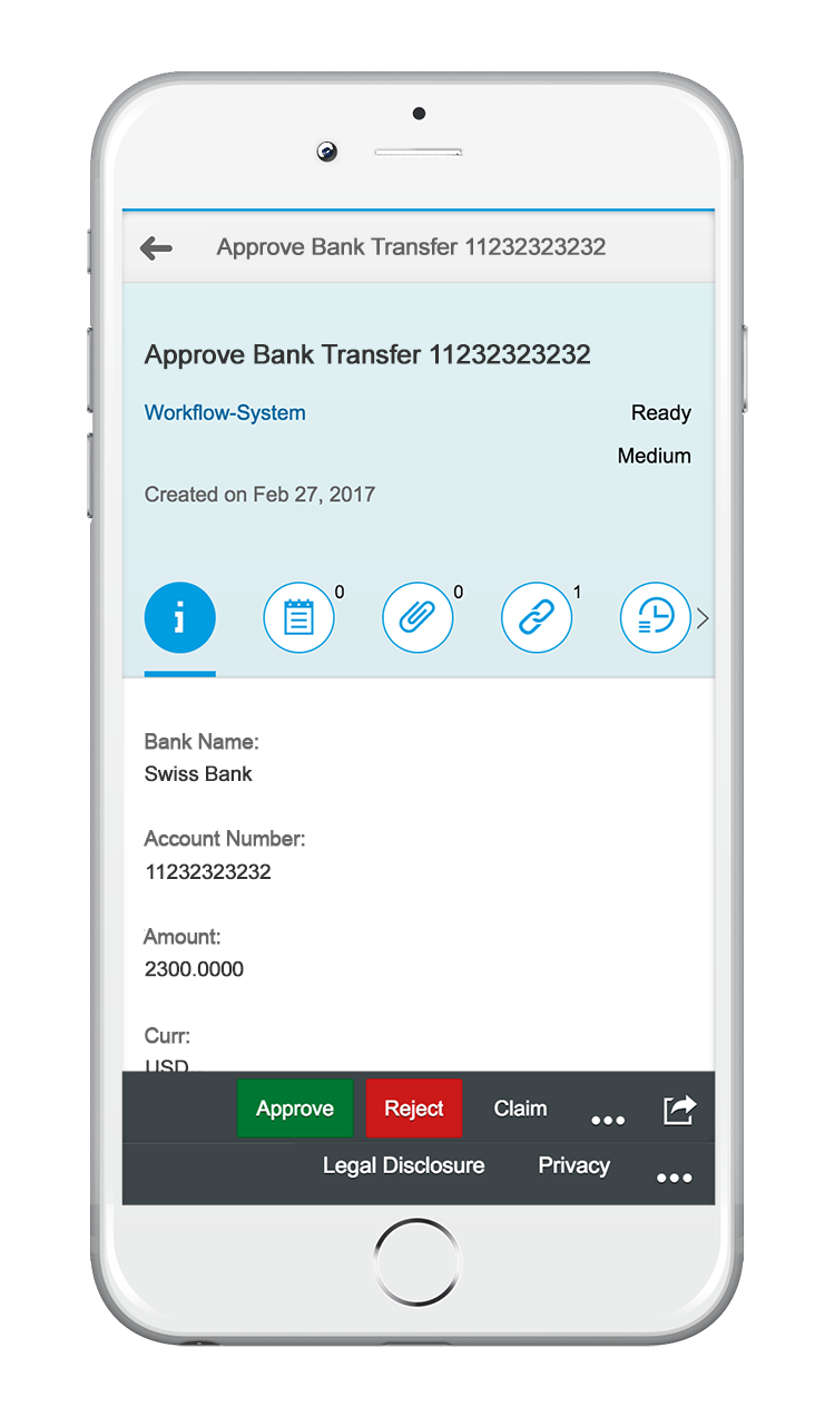 My Inbox App bank transfer workflow | SAP Fiori 2.0