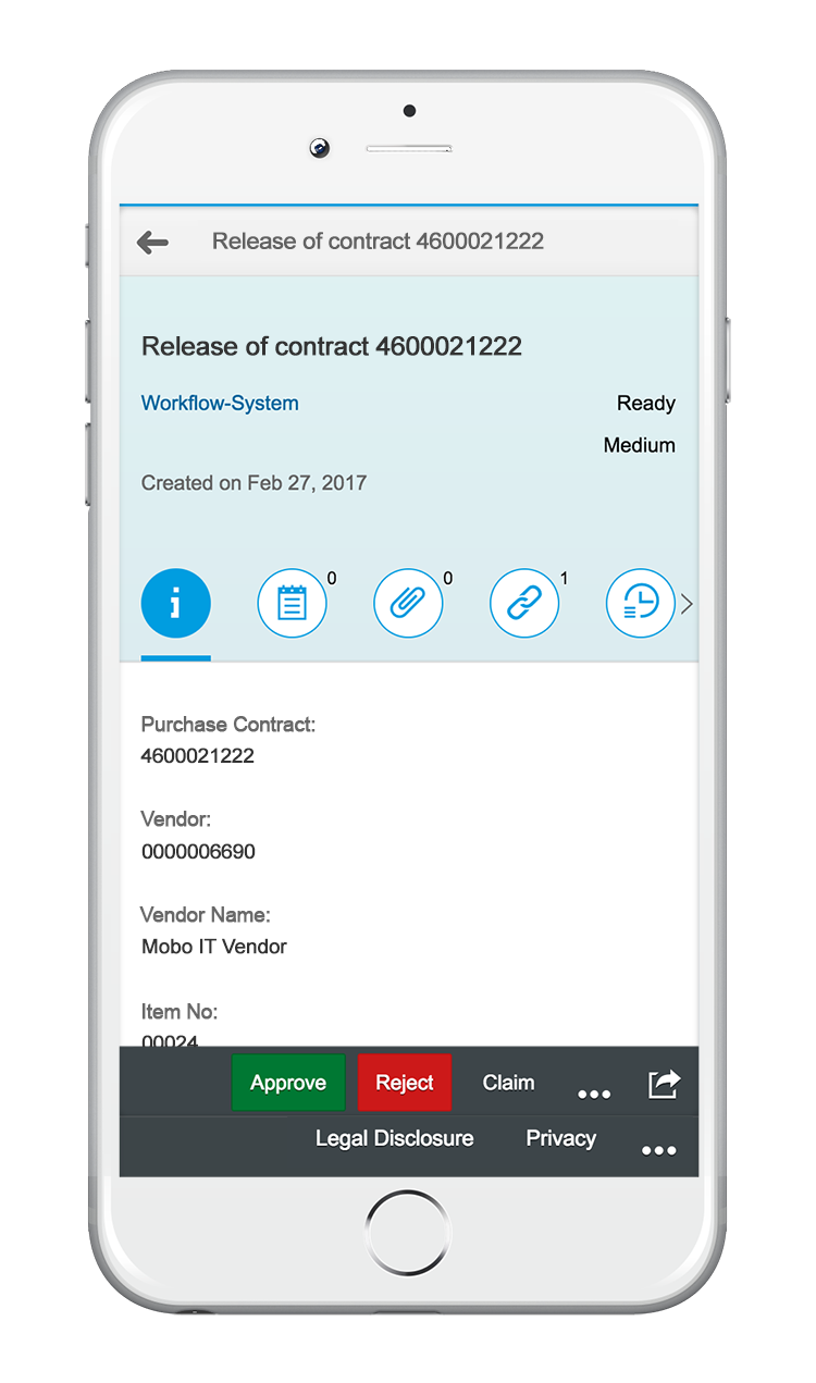 My Inbox App release contract workflow | SAP Fiori 2.0