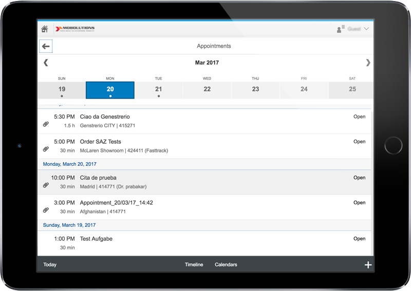 SAP Fiori - My Appointments App Screen