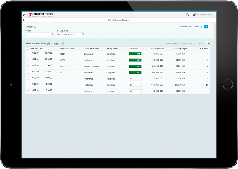Run Outbound Process - Deliveries Fiori App, SAP Goods Issue App
