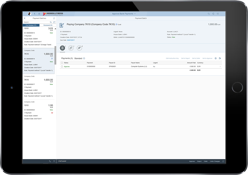 Fiori Approve Bank Payments App | FICO SAP