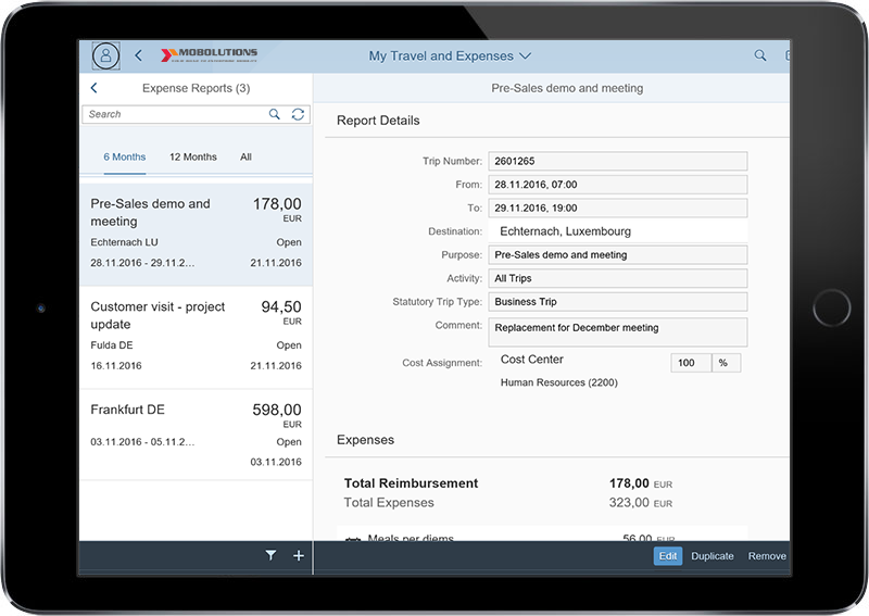 Fiori My Travel and Expenses App | FICO SAP