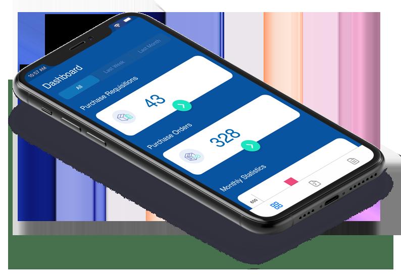 dashboard-Isometric-view-Mobile PO PR App